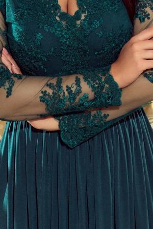 Rochie lunga de seara cu dantela Numoco, turquoise3