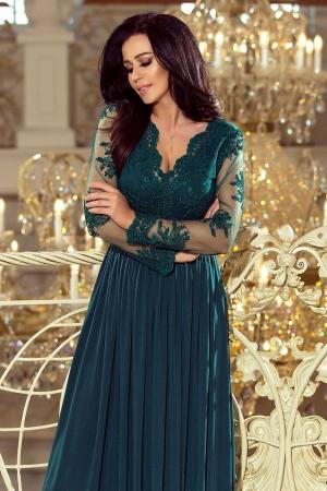 Rochie lunga de seara cu dantela Numoco, turquoise1