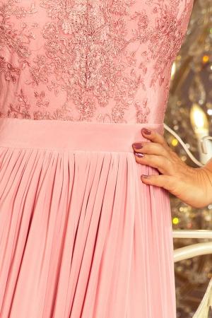Rochie maxi de seara cu bust dantela Lea, roz pastel2