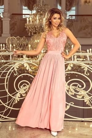 Rochie maxi de seara cu bust dantela Lea, roz pastel0