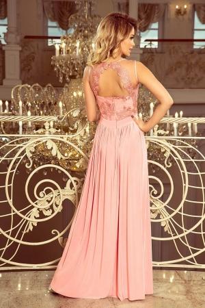 Rochie maxi de seara cu bust dantela Lea, roz pastel1