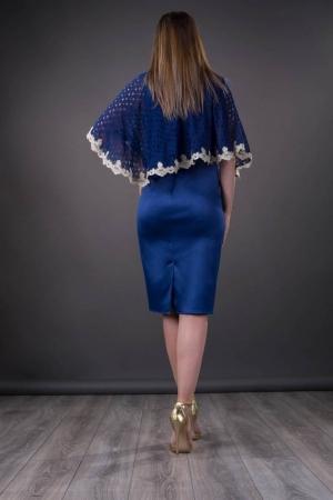 Rochie midi de ocazie cu pelerina Elvira, albastru regal1