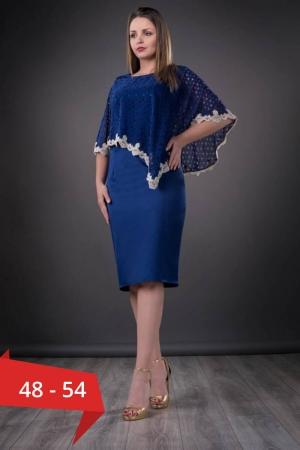 Rochie midi de ocazie cu pelerina Elvira, albastru regal0