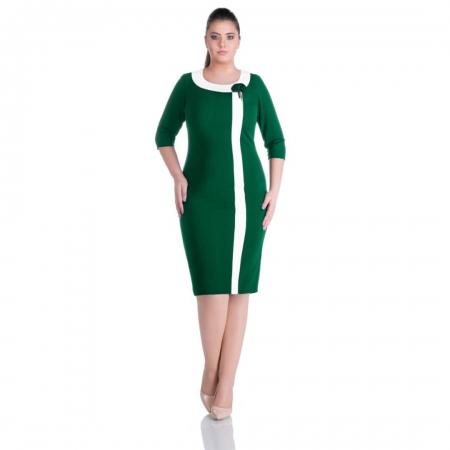 Rochie midi de zi marimi mari Natasa, verde/alb