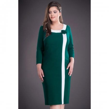 Rochie midi de zi cu aplicatie in piept Natasa, verde inchis