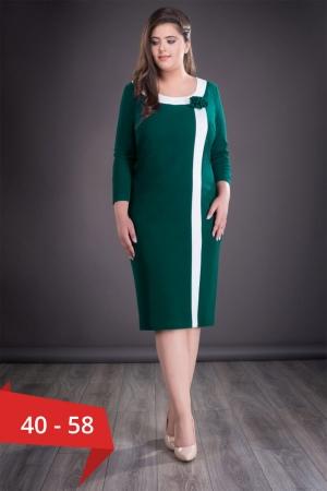Rochie midi de zi cu aplicatie in piept Natasa, verde inchis0
