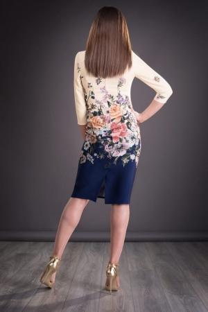 Rochie midi de zi cu imprimeu floral Golda, bleumarin/crem