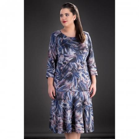 Rochie midi de zi din tricot cu imprimeu Gina, gri1