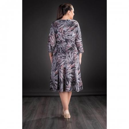 Rochie midi de zi din tricot cu imprimeu Gina, gri2