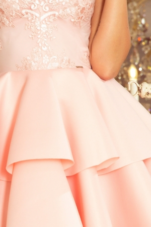 Rochie scurta eleganta de seara Alexis roz pastel3