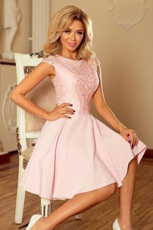 Rochie scurta eleganta de seara cu dantela Marta roz0
