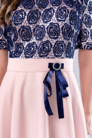 Rochie eleganta cu bust dantela Clara, bleumarin/piersica3