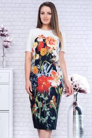Rochie midi de zi imprimeu floral Romina1