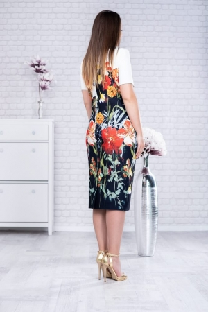 Rochie midi de zi imprimeu floral Romina2