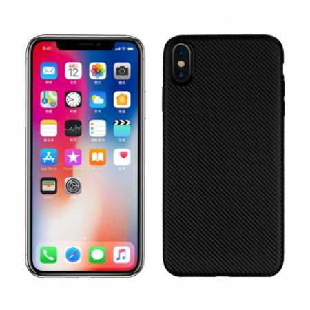 Husa silicon carbon Iphone Xs Max - negru