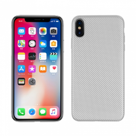 Husa silicon carbon Iphone Xs Max - Silver