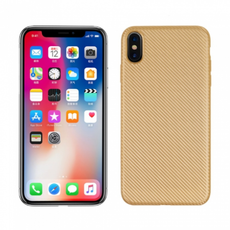 Husa silicon carbon Iphone Xs Max - Gold