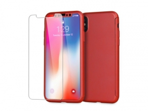 Husa Apple iPhone X Full Cover 360 Rosu + Folie de protectie