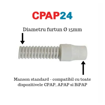 Furtun CPAP Slim pt. Blue StandardPlus & AutoPlus - DeVilbiss (Ø15 mm, 1.8 m)1