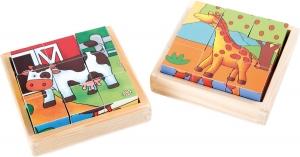 Cuburi puzzle Zoo-Ferma Set de 20