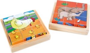 Cuburi puzzle Zoo-Ferma Set de 24