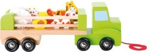 Camion de tras din lemn cu 6 animalute2