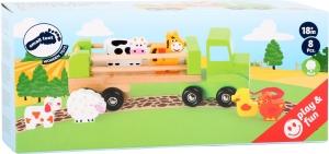 Camion de tras din lemn cu 6 animalute1