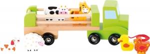 Camion de tras din lemn cu 6 animalute0
