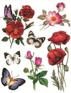 Autocolant static pentru fereastră - flori si fluturi, 30 x 38 cm