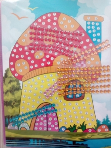 Puzzle mozaic cu strasuri - păun/ casă
