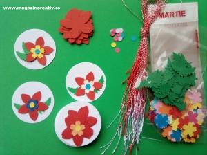 Set confecţionare 30 de mărţişoare Medalion cu floare - cu pungă transparentă