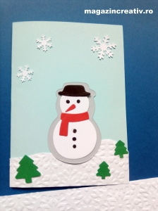 Felicitare bleu Omul de zăpadă - set confecţionare 20 felicitări