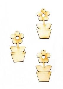 Figurine din lemn - Floare în ghiveci (7 cm, 3 buc/set)