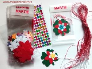 Set confecţionare 30 mărţisoare trifoi şi floare - cu pungă transparentă