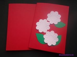 Set confecționare 25 felicitări roșii cu flori