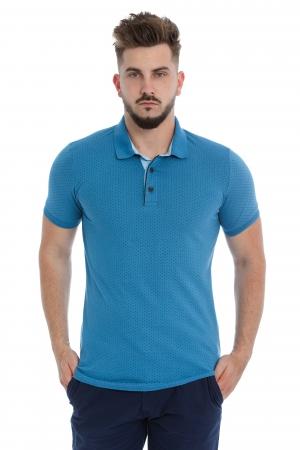 Tricou Polo Albastru cu Print