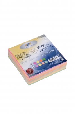 Notes adeziv Magic Cube 76 x 76 mm, 8 culori x 25 coli/culoare, DP Collection Office