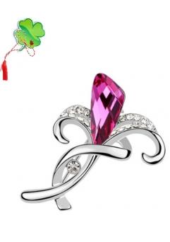 Brosa 1039 My love dark rose cu cristale Swarovski si placata cu aur 18K  garantie 6 luni0