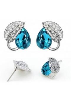 Cercei Leaves Turquoise cu cristale Swarovski