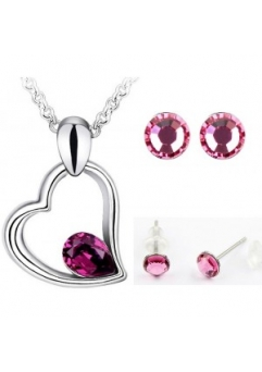Set EXPENSIVE HEART SHINE purple cu cristale swarovski