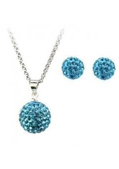 Set bijuteriii SHAMBALA bleo-aquamarine cu cristale swarovski