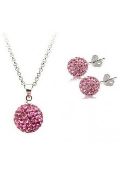 Set bijuteriii SHAMBALA rose cu cristale