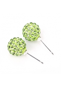 Cercei SHAMBALA verde cu cristale