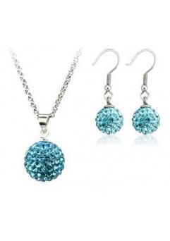 Set bijuteriii SHAMBALA lung bleo-aquamarine cu cristale swarovski