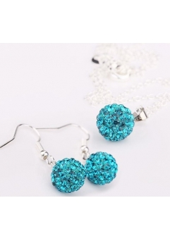 Set bijuteriii SHAMBALA lung bleo topaz-turquoise cu cristale