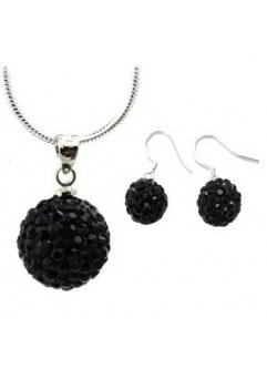 Set bijuteriii SHAMBALA lung negru  cu cristale