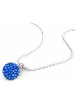 Pandant SHAMBALA BLUE CAPRI cu lantic placat cu argint cu cristale swarovski