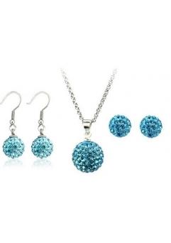Set bijuteriii SHAMBALA bleo-aquamarine cu 2 perechi de cercei cu cristale