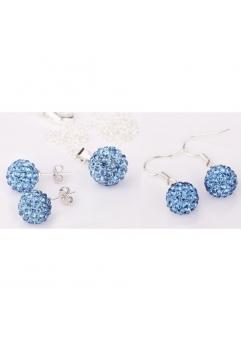 Set bijuteriii SHAMBALA albastru ciel lightblue cu 2 perechi de cercei cu cristale