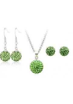Set bijuteriii SHAMBALA verde deschis cu 2 perechi de cercei cu cristale swarovski